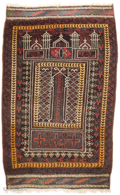 #1124 Baluch Prayer Rug, 88/140 cm, Farah / West Afghanistan, early 20th century, beautiful natural Blues and Greens, one synthetic dye as a highlight, one old restoration, sides rewrapped, a stain, in  ...
