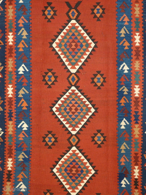 # 799 Classical Shahsavan kilim with the traditional long format, 145/402 cm, Northwest Persia, early 20th century, very good condition and natural colors, wonderful madder red in the field, calm and ruminant  ...