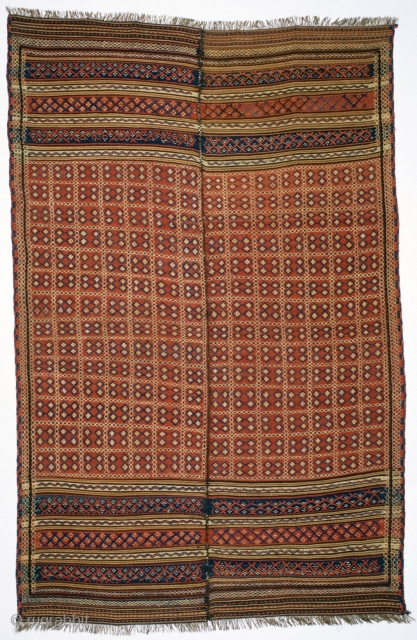 # 155 Kurdish Flatweave in two halfs, 146/223 cm, Mazandaran area / North Persia, 1st quarter 20th century, very good condition, Ex-Adil-Besim- / Langauer-Collection, please cf. Wertime in OCTS I ! For  ...