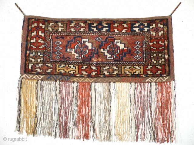 "# 917 Kordi Tobreh, 75/32 cm (without tassels), Khorasan, ca. 1930, rare complete tent bag in ""Turkmen Torba"" style, natural dyes, very good condition, not published up to date! For a complete  ..."