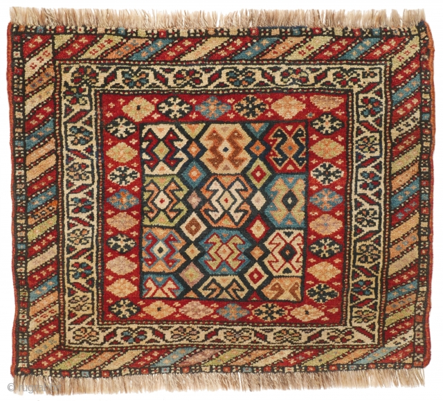 # 1101 Outstanding Kurdish Khorjin Front, 58/71 cm, Kurdistan, late 19th century, rare field design, great colour palette, very good condition! For a complete overview of our Autumn Exhibition 2017 please look  ...