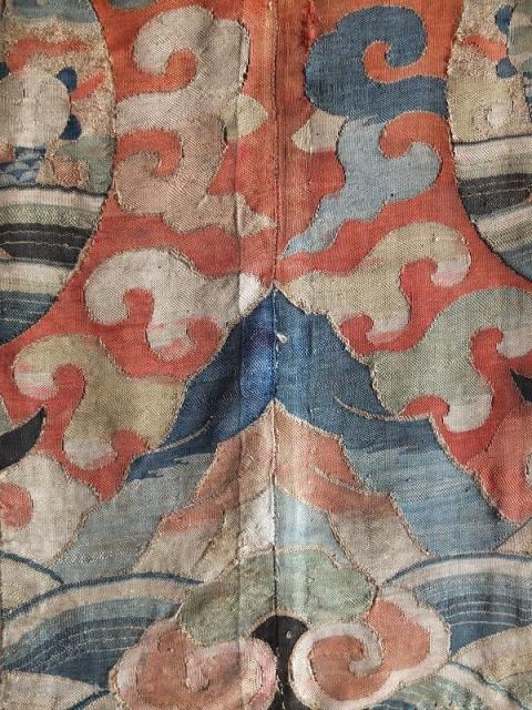 Rare antique Kesi fragment. Woven like hair. Carefully mounted on old linen. Made for the tibetan market 85x25cm.