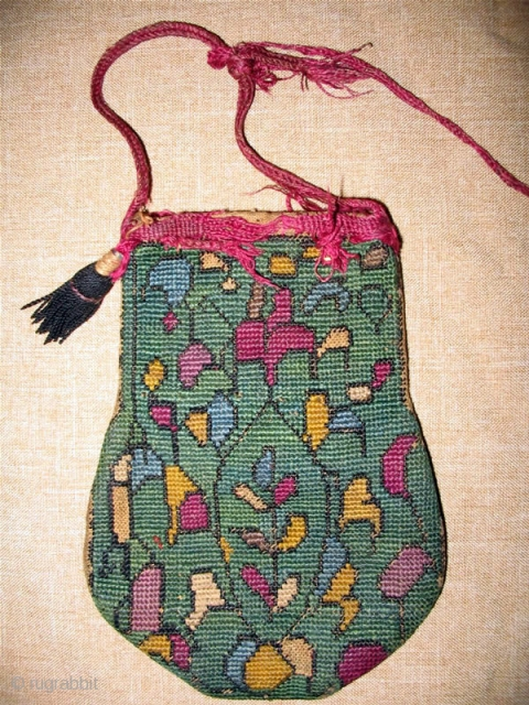 "Rare antique Uzbek Lakai money bag, late 19th, in good condition, natural dyes, nice embroidery. Size is 6"" x 4""."
