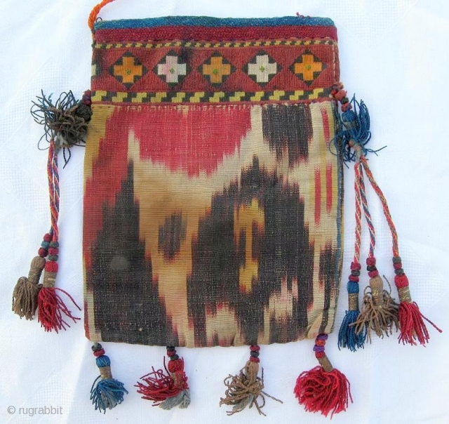 "Rare antique Uzbek money bag, IKAT, cross-stitched embroidery is VERY thin, late 19th, in good condition. Size is 7"" x 5.5"", 17 x 13 cm."