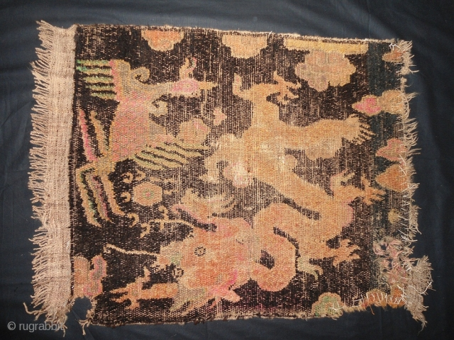 Antique Tibetan meditation rug wool on wool size : 2 ft x 2 ft Approx. worldwide shipping