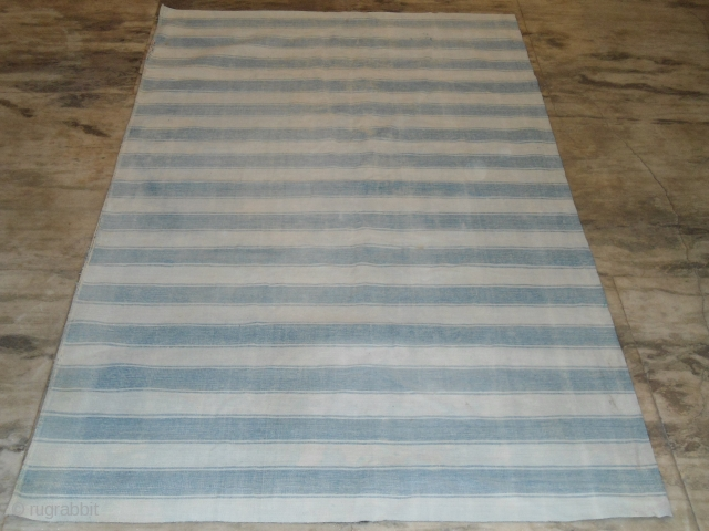 ANTIQUE AGRA BLUE WHITE DHURRIE 4FTX6FT, GOOD CONDITION, NO HOLES, WASHED FREE WORLDWIDE SHIPPING