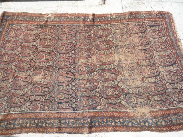 Antique persian senneh rug 6ftx4ft worn,