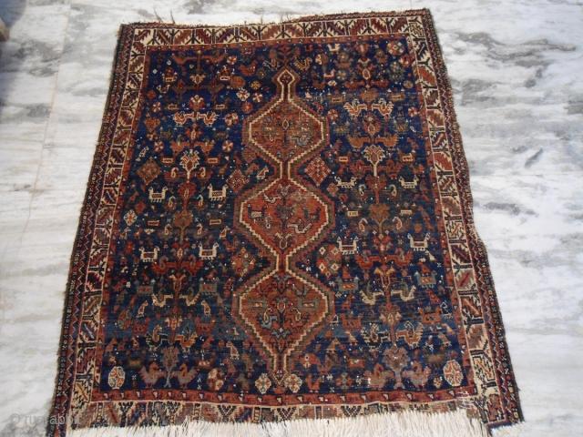 Antique Khamseh persian rug size : 5 ft x 4 ft Approx.