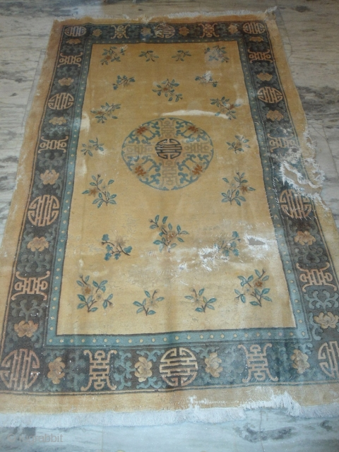 semi-Antique Chinese rug 5 ft 6 inches x 8 ft 7 inches holes, good pile
