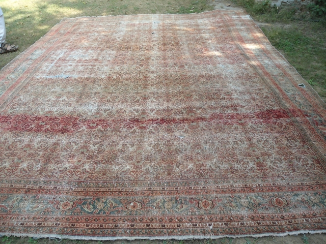 Antique Agra carpet , Northern India 12 ft x 15 ft worn , holes worldwide shipping