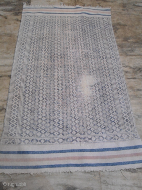 Antique jail cotton dhurrie, India circa 1920s 4x6 ft worldwide shipping