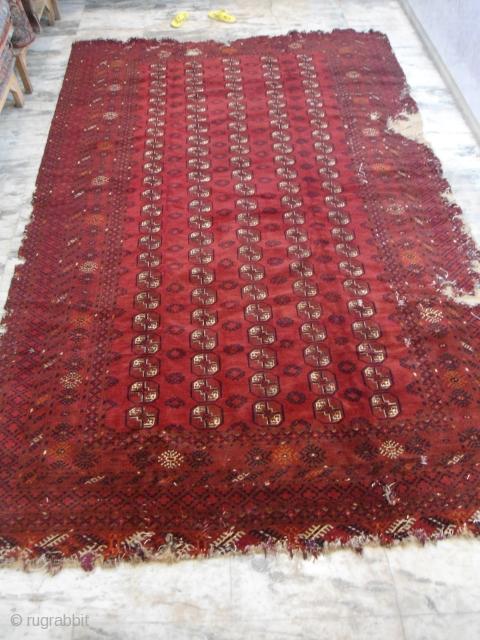 Antique Tekke bokhara rug interesting yamut border size : 13'.2'' x 8'.9'' condition : holes, washed, nice pile