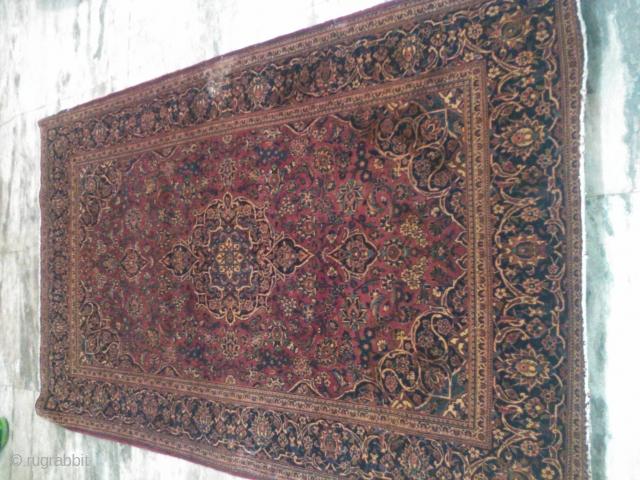 Antique keshan Persian rug 4x6ft