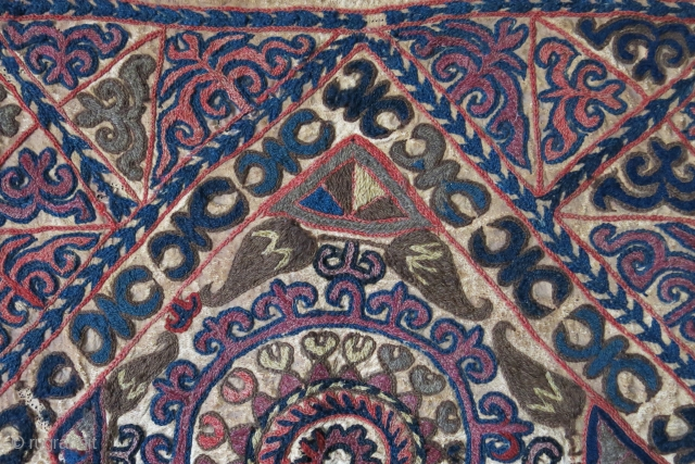 "Kirgiz mirror cover or yurt hanging, wool embroidery on leather, sewn on a plain black cotton. Circa : 19th cent size: 20"" X 20"" - 50 cm X 50 cm"