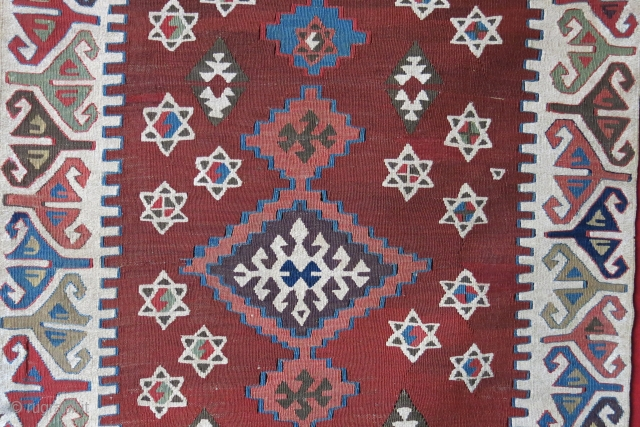 """Anatolian Konya Karapinar dowry kilim. wool and cotton mixed ivory color with a sign of small metallic emrboidery. Couple small repairs Circa 19th cent. or earlier size: 58"""" X 31"""" -- 148  ..."""