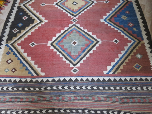 "Qashkai tribal all wool kilim, natural colors, some small area wears but still in strong condition and small area old repairs.  Circa mid- 19th cent, size : 107"" X 65"" -  ..."