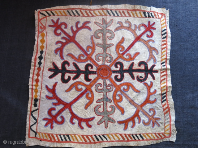 "Kirgiz Mirror cover, embroidery on leather, circa 1900 size : 16"" X 15"" - 41 cm X 38 cm"