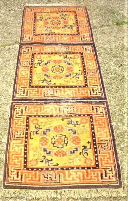 antique Tibet / Chinese sitting-meditation rug. Size: 61 x 183 cm. Some low pile.