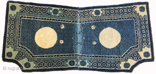 Magnificent scalloped-cornered saddle carpet made of the highest quality wool from Inner Mongolia, probably made in the Baotou area. A master dyer obviously made the dyes for the wool used in this  ...