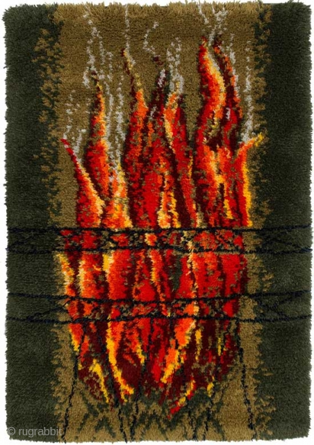 Finnish ryijy (Swedish 'rya') entitled 'Liekit' (in English 'flames'). Ryijy's / rya's are traditional Scandinavian wool rugs with a long pile, often 'shaggy', and usually between 2.5cm to 5cm (1 to 2  ...