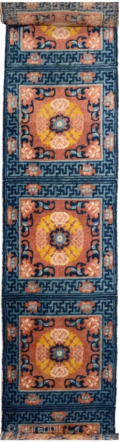 Stunningly beautiful 19th century Ningxia 'runner' - or very long carpet - consisting of 14 squares, that was made in the Ningxia region of China specifically for use in a Buddhist monastery  ...