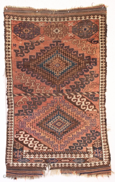 old and very unusual baluch rug with a sampler like design. As found, dirty with some wear and edge roughness as shown. Turkish knotted. Soft natural colors. I have never encountered such  ...