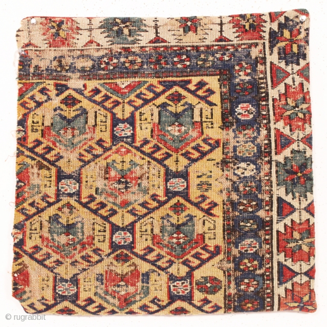 "Old soumak rug fragment made into a pillow. All natural colors featuring a nice yellow ground. I opened one end and removed the old stuffing. 19th c. app. 20"" sq."