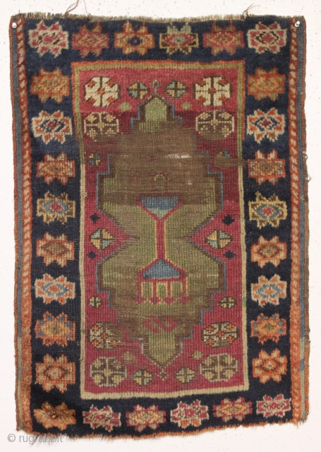 "Old east anatolian yastik. As found, dirty with wear as shown. Strong drawing and fleecy wool. 19th c. 25"" x 35"""