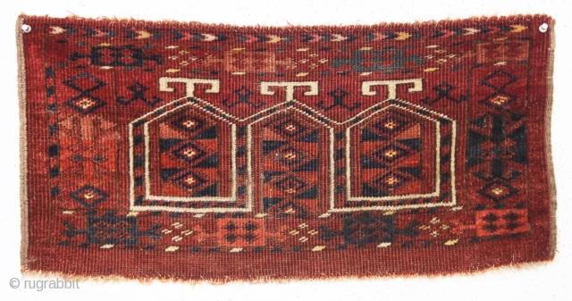 "Old little ersari turkman mafrash. Fresh New England find. In good condition with even low pile. All natural colors. Soft and supple handle. 19th c. 13"" x 27"""