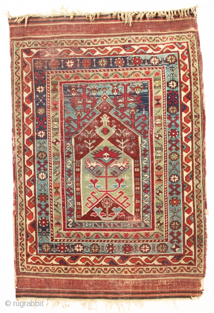 "Old Turkish prayer rug. Interesting village weaving in fairly good condition with pretty all natural colors. Original selvages and kelim ends. Fresh New England find. ca. 1875. 3'9"" x 5'8"""
