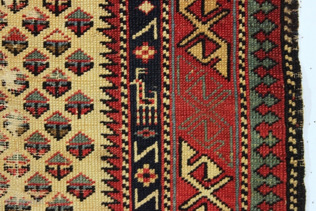 antique very small shirvan prayer rug. Early and fine. Unusual field design and animal border. All natural colors. Recent wash. Areas of wear as shown but restorable or enjoy as is. Good  ...