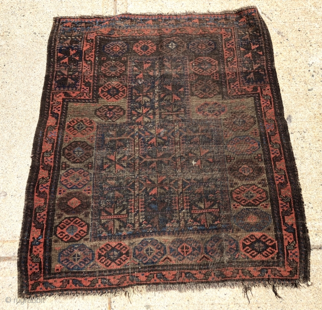 """Antique Baluch prayer rug. Interesting somewhat unusual design but very worn and with heavy brown oxidation as shown. Priced accordingly. 19th c. 3'2"""" x 3'9"""""""