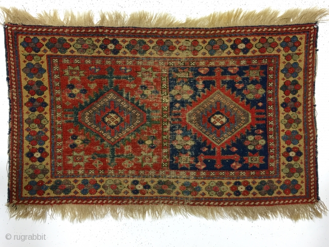 Antique large Kurdish bagface. Rough but older example of this group. Heavy brown oxidation and scattered wear as shown. All natural colors. Reasonably clean. Ca. 1875. 2' x 3'4""