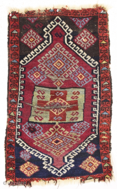 "antique east anatolian yastik. All natural colors with pretty greens. Glossy wool. As found, and priced accordingly. Late 19th c. 23"" x 36"""