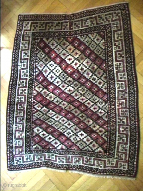 Qaraqalpaq ( Karakalpak) Amur Darya Tarim, medium sized main rug, 191/148 cm.First q 20thC.This rug has an aura, despite several restaurations of corroded spots, done in the country of origin and with  ...
