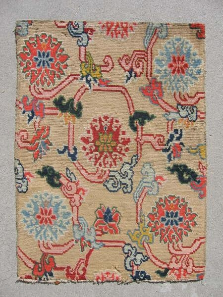 "T455 Tibetan Sitting Rug, 1'9""x2'5"";Early 20th century, very good condition,missing perhaps one row of knots on bottom;natural and synthetic dyes"