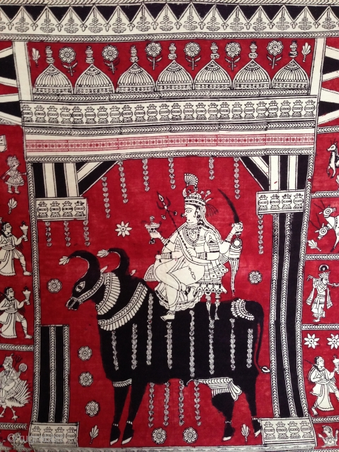 682 Semi-Antique Mata Ni Pachedi Textile Art. Recent productions are more detailed  and are slated to become home decor pieces. This one is an authentic piece used for the original purpose  ...