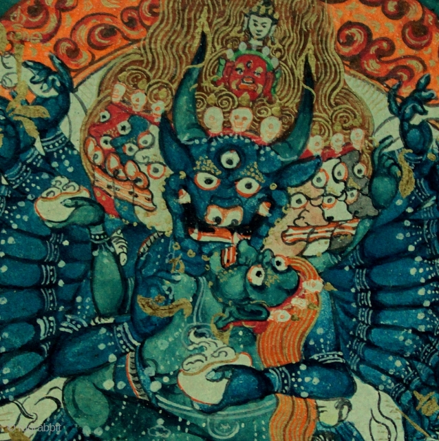 Very finely painted and expressive 18th-19th century Mongolian Buddhist tsakli miniature painting of Yamantaka, Vajrabhairava with his consort Vajravetali. Mineral pigments and gold on woven canvas with Tibetan inscription on the reverse,  ...