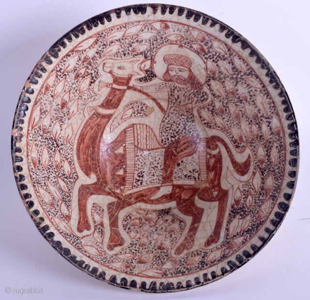 Antique persian (Kashan?) pottery bowl (diameter 22,5 cm.)  See pics for condition, no repair.