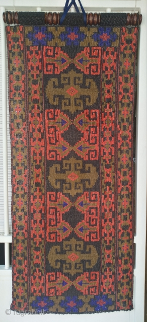 Very decorative , old and rare Uzbek glass beads screen, 49cm x 119cm.