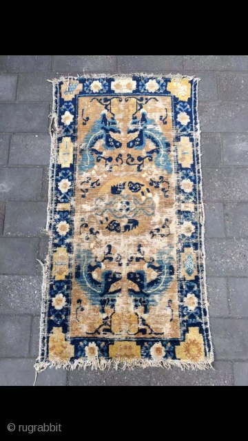 "Chinese Ningxia rug, good age, In the middle of the Qing Dynasty,very nice dragon pattern. Size 121*65cm(47*25"")"