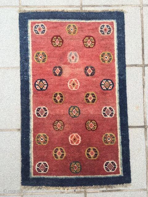 """#2025 Tibet rug, red background with colorful ball pattern. Wool warp and weft,good age and quality. Size 88*55cm(34*21"""")"""