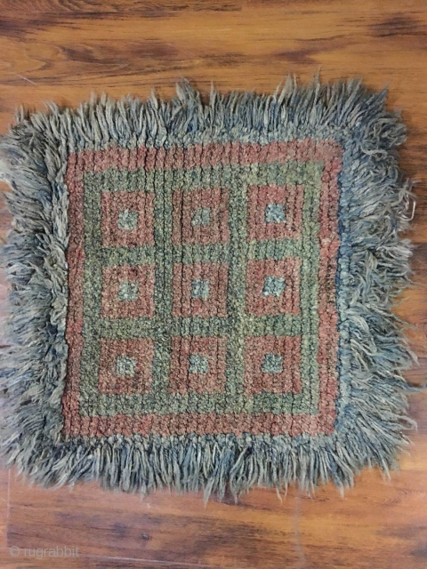 """Tibetan Square  Wangden rug, checker board pattern. Good age and condition. Size 73*73cm (28*28"""")"""