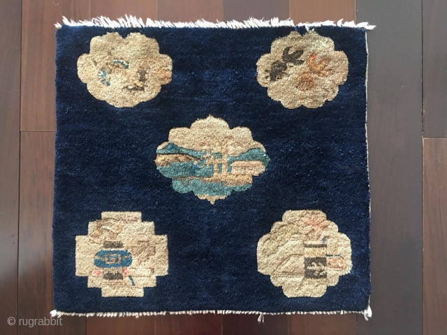 #2067 Chinese Yulin rug,  it was produced in Yunlin area in Shanxi province, blue background with five group flowers shapes veins, Chinese traditional flower, vases ,fish and other design in the  ...