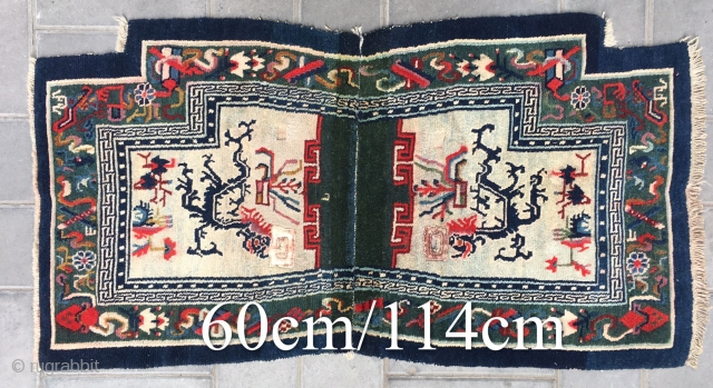 """Tibetan horse saddle rug, rare green background with double dragon pattern, Buddha eight treasure selvage. About 80years old. Good condition. Size 114*60cm(45*23"""")"""
