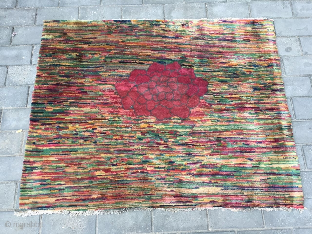 #1719  Beijing carpet. very rare and beautiful pattern, colourful line background with the big red peony flower. good age and quality. size 125*160cm(49*62'')
