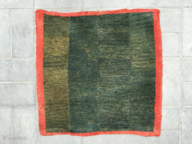 """#2083 Tibet rug, big square mat, green four strips with red selvage. Good age and quality. Size 73*73cm(28*28"""")"""