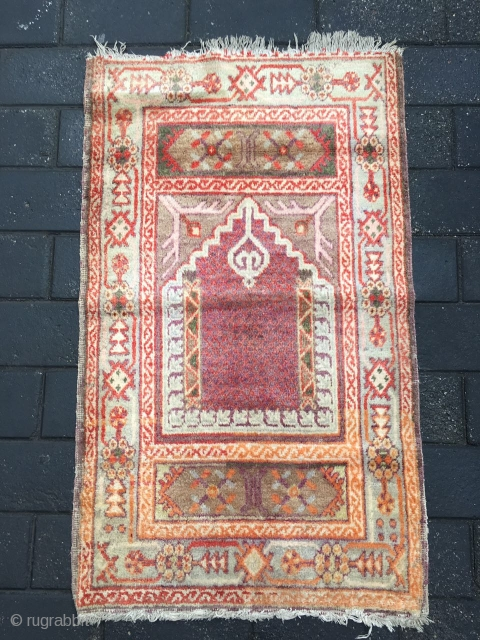 #1883 Xinjiang rug, It was produced in Khotan area in Xinjiang, a very nice Muslem pray rug, beautiful Muslem style flower veins, good age and quality.size 125*72cm(49*28'')