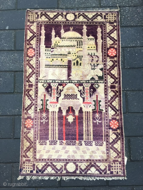 #1886 Ningxia rug, very nice Muslem pray rug, purple background with mosque veins and flower selvage, good age and quality.size 114*67cm(44*26'')
