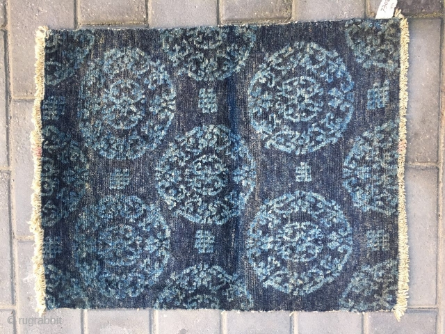 #1890 Tibet rug fragment, blue bakcground with group flower and coiling tube pattern, good age, size77*59cm(30*23'')